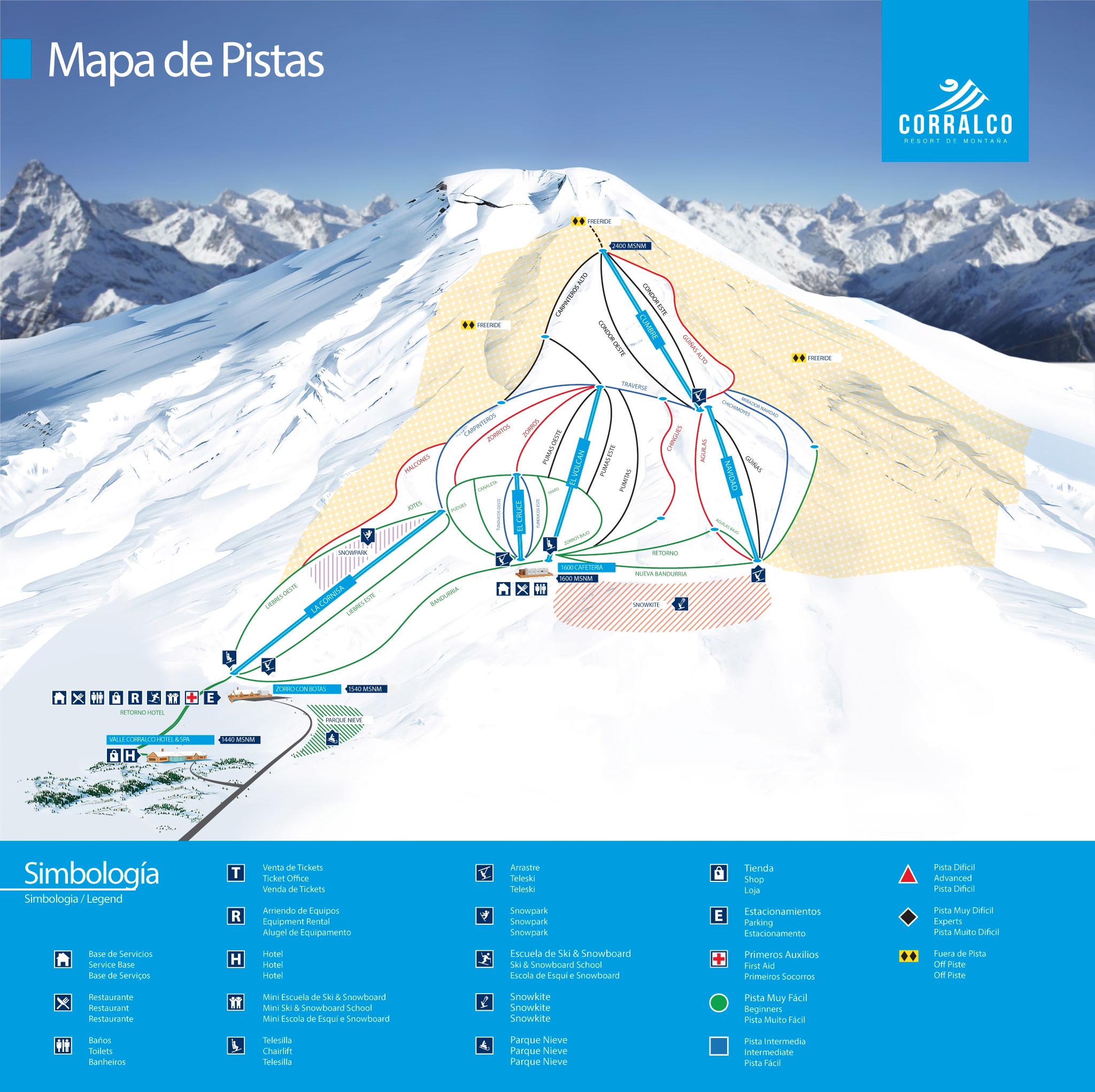 corralco ski snowboard resort mapa de pistas