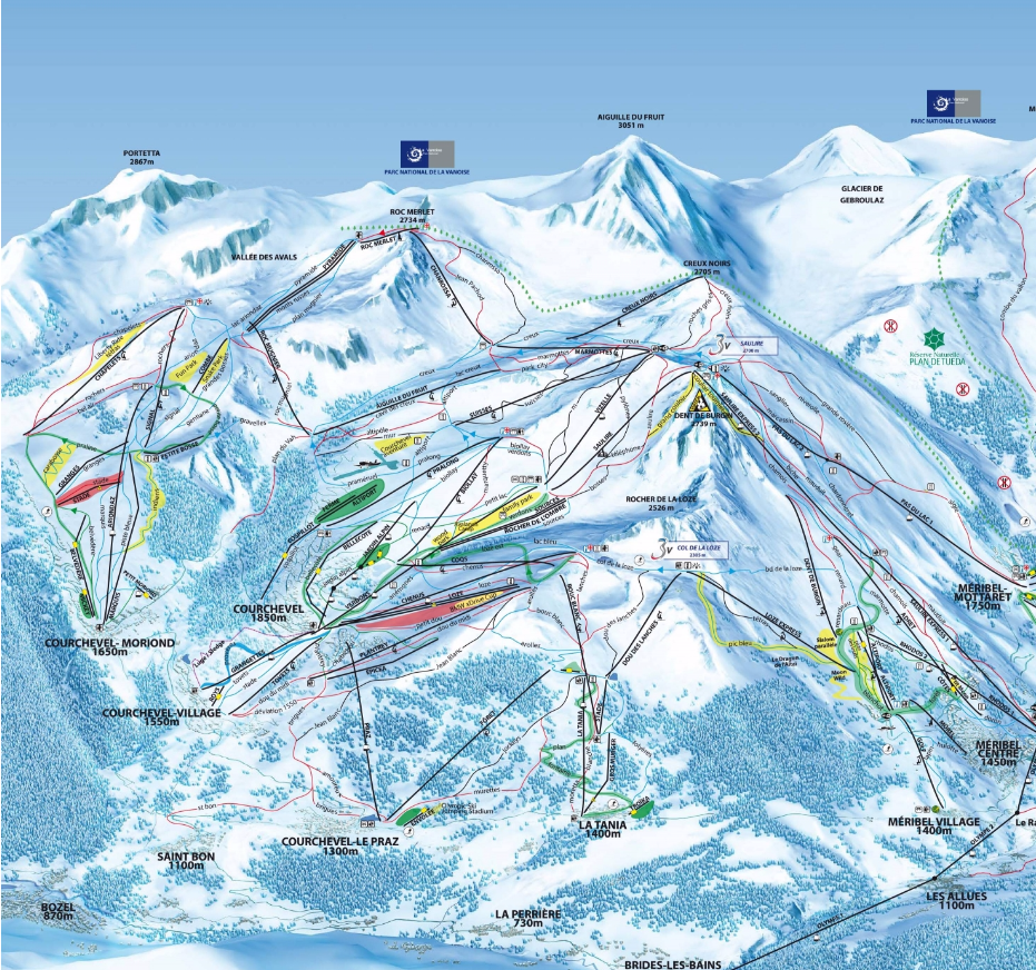 Courchevel mapa de pistas