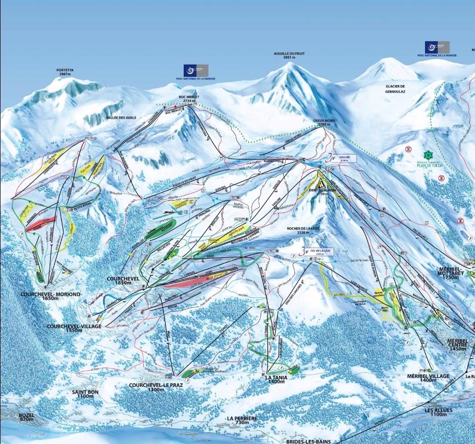 Courchevel mapa de pistas
