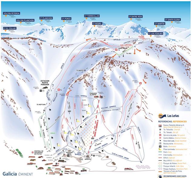 Las Leñas mapa de pistas